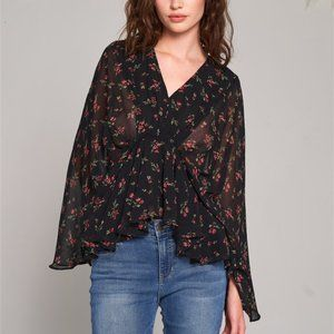 BOHO DOLLZ Floral Print Blouse - Black